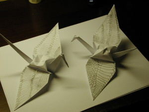Hand decorated cranes